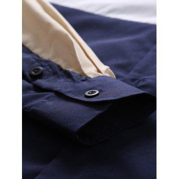Long Sleeve Color Block Splicing Shirt - PURPLISH BLUE L