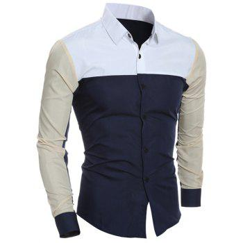 Long Sleeve Color Block Splicing Shirt
