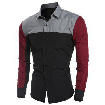 Long Sleeve Color Block Splicing Shirt - BLACK L