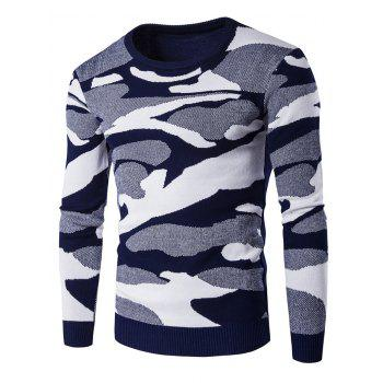 Crew Neck Long Sleeve Camouflage Pattern Sweater