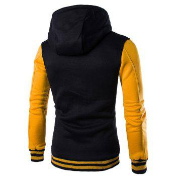 Hooded Single-Breasted Drawstring Stripe Rib Splicing Hoodie - YELLOW L