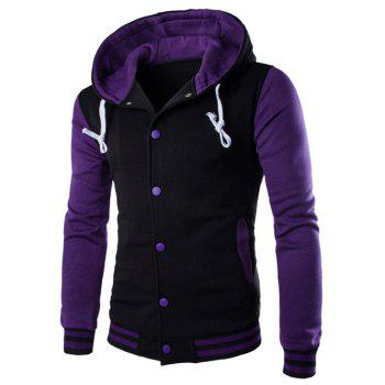 Hooded Single-Breasted Drawstring Stripe Rib Splicing Hoodie