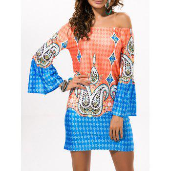 Off The Shoulder Diamond Print Mini Dress
