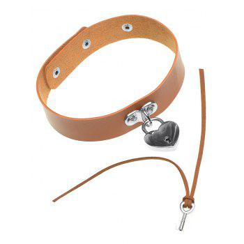 Faux Leather Love Heart Lock Choker