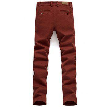 Jambe droite Zipper Fly Bouton Pocket Pants Plaine - Rouge 32