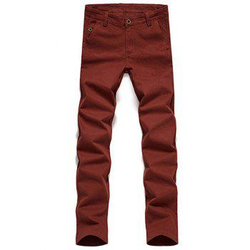 Straight Leg Zipper Fly Button Pocket Plain Pants
