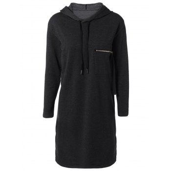Hooded Long Sleeve Dress with Pocket