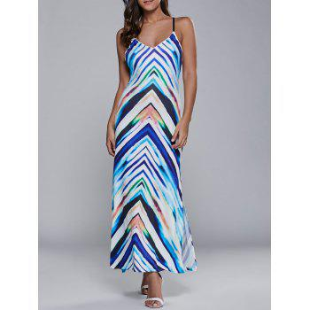 Lace Up Striped Maxi Dress