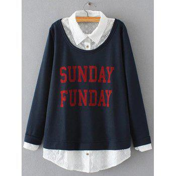 Plus Size Embroidered Fleece Spliced Sunday Sweatshirt