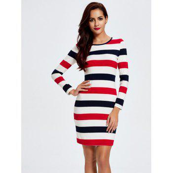 Stripe Long Sleeve T-Shirt Slimming Dress