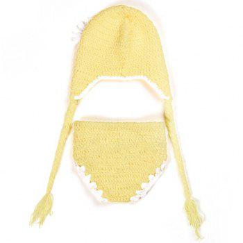 Crochet Pendant Floral Hat Baby Photography Clothes Set - YELLOW