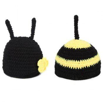 Crochet Bee Baby Photography Prop Costume Set - BLACK BLACK