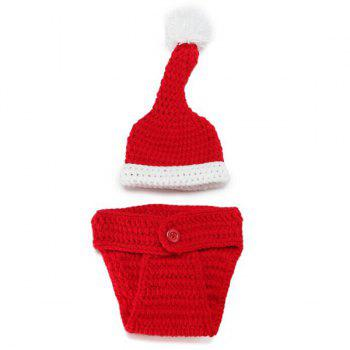 Crochet Santa Claus Baby Photography Prop Costume Set - RED/WHITE
