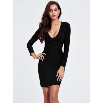 Twist Backless Long Sleeve Club Skinny Dress