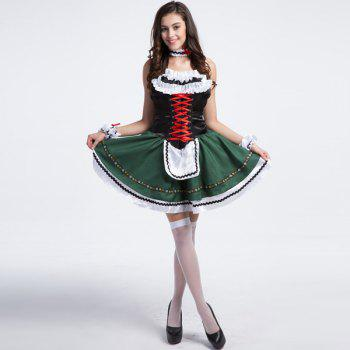 High Grade Costume Beer Festival Sleeveless Maid Outfit - GRASS GREEN M