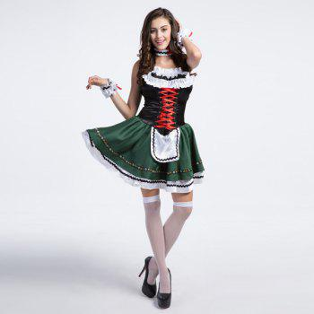 High Grade Costume Beer Festival Sleeveless Maid Outfit - GRASS GREEN S
