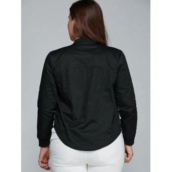 Slim Fit Zip Up Jacket - BLACK 2XL
