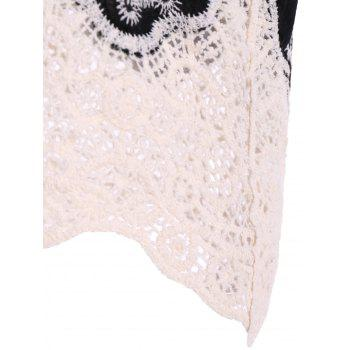 Lace Splicing Plunge Neck Blouse - BLACK 2XL
