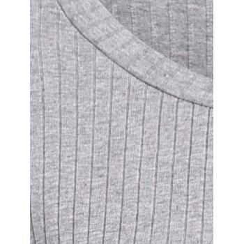 Long Sleeve High Low Sweater - GRAY 2XL