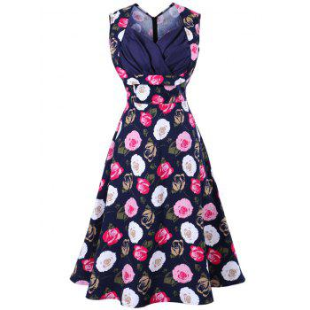 Sweetheart Neckline Print Vintage Dress