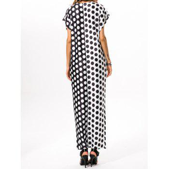 Polka Dot Print Loose Maxi Dress - WHITE/BLACK S