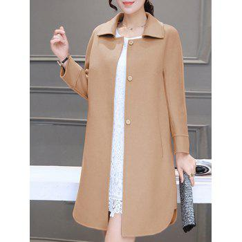 Fitting Buttoned Woolen Overcoat