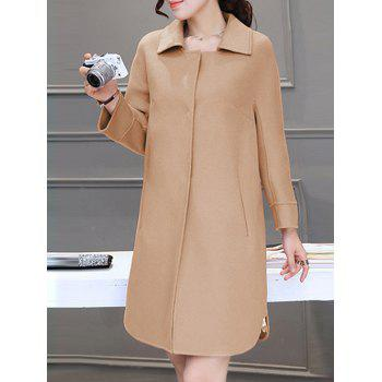 Fitting Buttoned Woolen Overcoat - KHAKI S