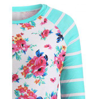 Flower Print Striped Patchwork T-Shirt - WHITE/GREEN XL