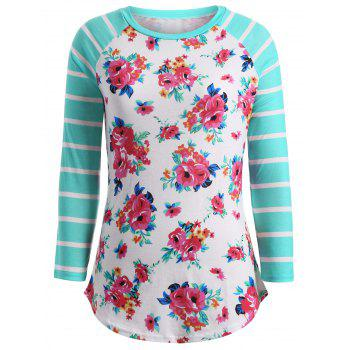 Flower Print Striped Patchwork T-Shirt - WHITE AND GREEN XL