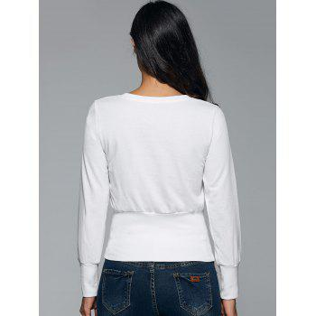 Lace-Up Minceur Sweatshirt - Blanc ONE SIZE