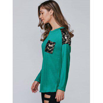 Sequins Embellished Square Zigzag Slit T-Shirt - GREEN S