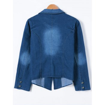 Buttoned Slimming Denim Blazer - DENIM BLUE DENIM BLUE