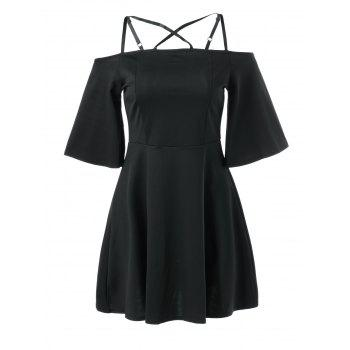 Cami Bell Sleeve Criss Cross Dress - BLACK BLACK