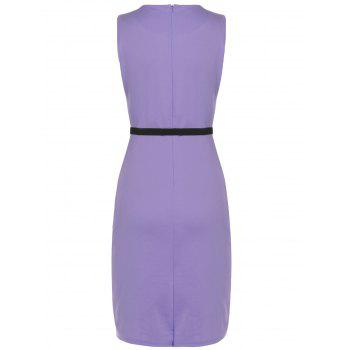 Belted Flower Print Pencil Bodycon Formal Dress - LIGHT PURPLE S