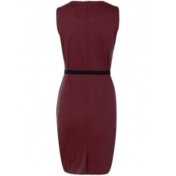 Belted Flower Print Pencil Bodycon Formal Dress - DEEP RED S