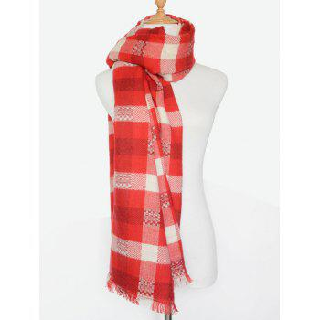 Winter Plaid Pattern Fringed Wrap Shawl Scarf