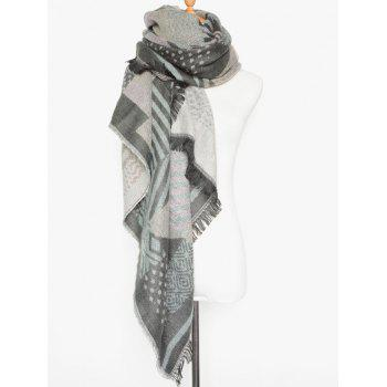 Winter Geometry Fringed Shawl Scarf - LIGHT GRAY