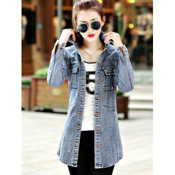 Slim Fit Bleach Wash Jeans Coat