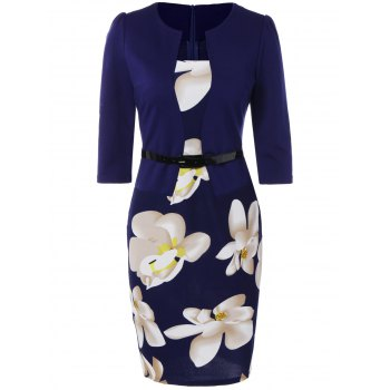 Floral Sheath Pencil Work Dress