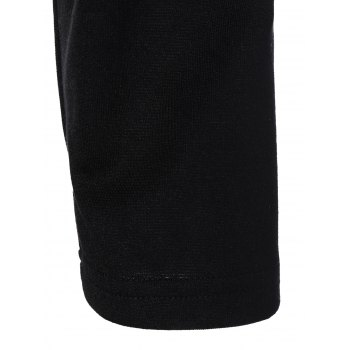 Floral Knee Length Pencil Fitted Work Dress - BLACK M