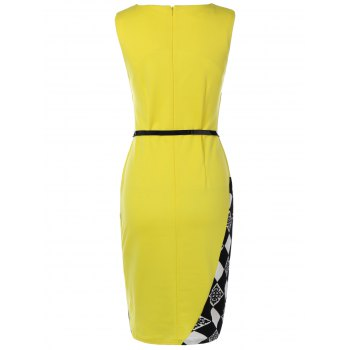 Argyle Skew Neck Sleeveless Bodycon Pencil Dress - YELLOW M