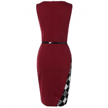 Argyle Skew Neck Sleeveless Bodycon Pencil Dress - RED S