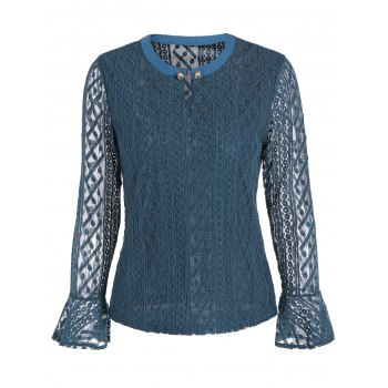 Keyhole Metal Button Embellished Lace Bell Sleeve Blouse