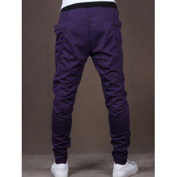 Lace-Up Low-Slung Crotch Narrow Feet Pants - PURPLE M