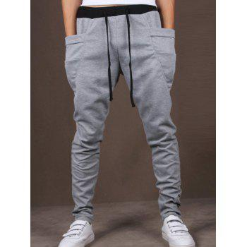 Lace-Up Low-Slung Crotch Narrow Feet Pants