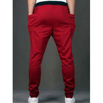 Lace-Up Low-Slung Crotch Narrow Feet Pants - RED M