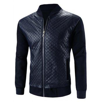 Stand Collar Zip-Up Argyle PU-Leather Splicing Design Jacket