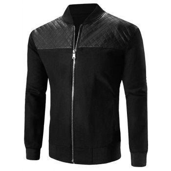 Stand Collar Zip-Up Argyle PU-Leather Spliced Design Jacket
