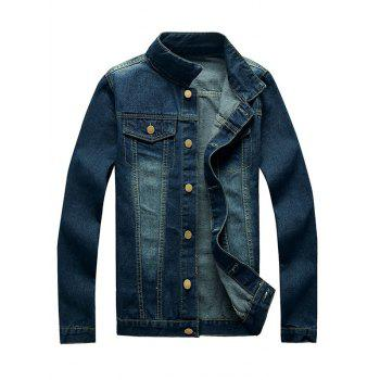 Bleach Wash Pockets Embellished Turn-Down Collar Denim Jacket