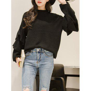 Mock Neck Butterfly Sleeve Knitwear - BLACK BLACK
